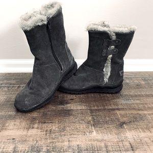 Gray Suede Minnetonka Boots